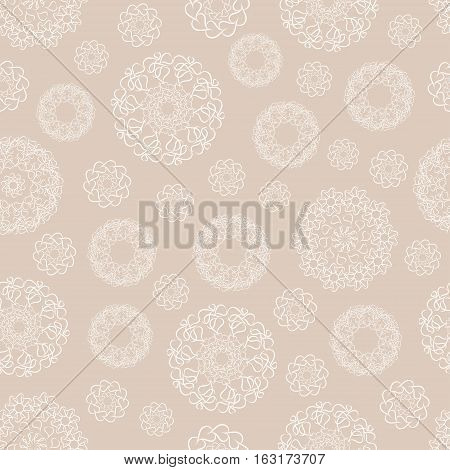 Ornamental abstract seamless pattern. Stylized leafs, hearts and snowflakes figures with natural and geometric elements can be used for surface textures, wallpaper, cover fills, web page background.
