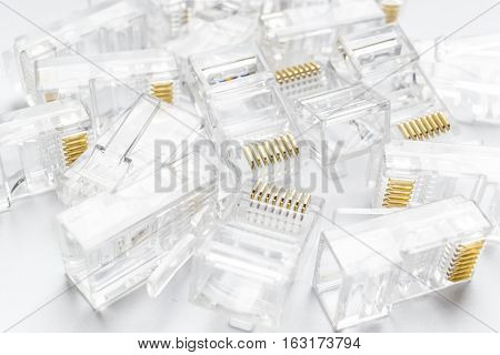 Transparent ethernet internet rj-45 connectors tehnology background on white