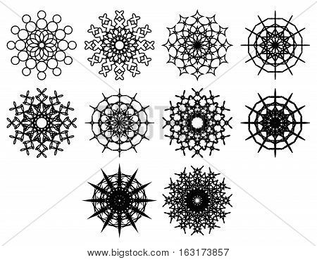 Set of spirograph design shapes. Flowers and snowflakes. Black outline. Web design elements isolated on white background. Can be used as anti stress coloring pages. Vector