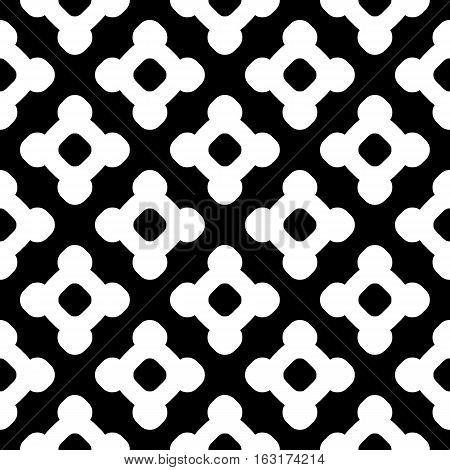 Vector monochrome seamless pattern. Abstract black & white geometric texture, simple linear figures, repeat tiles. Endless modern dark minimalist background, editable design element for prints, decoration, digital, web