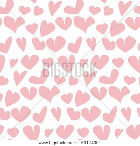 valentine seamless pale polka dot pattern with hand drawn assorted hearts.  simple cute heart shape repeatable motif for fabric, wrapping paper, background