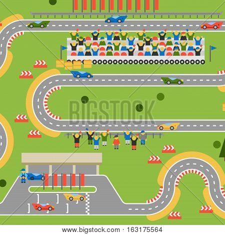Race track curve road vector. Top view of car sport competition constructor symbols. Circuit transportation tire speedway line. Automobile highway flare formula finish.