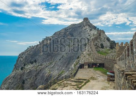 Wall of an ancient Genoese fortress in Sudak Crimea Ukraine