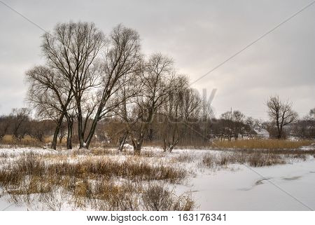 Winter landscape in rural area central Ukraine Europe.