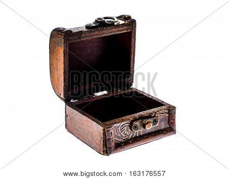 Old Wood Chest Jewelry Box Closed Isolated On White Background.