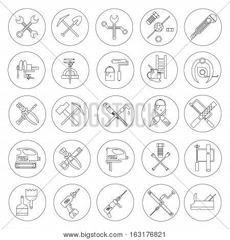 Line working  tools for construction, building and home repair 25 icons set. Vector illustration. Equipment. Elements for design. Industrial style. Hand work tools collection.
