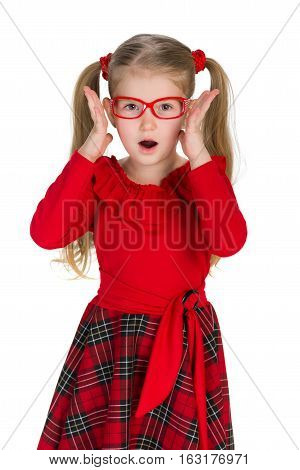 Shocked Little Girl Against The White