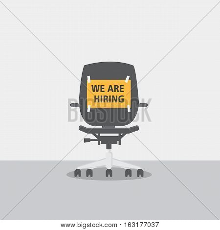 Flat Design of Chair With Job Vacancy Sign Concept