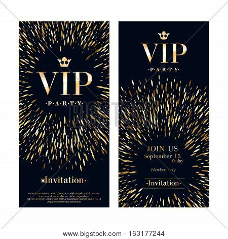 VIP club party premium invitation card poster flyers set. Black and golden burst design template. Sharp oval sequins pattern decorative vector background.