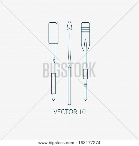 Line flat vector marine icon with nautical design elements - harpoon and paddle. Cartoon style. Illustration , element for your design. Sea adventures. Ocean. Naval. Navigation. Maritime. Vintage.