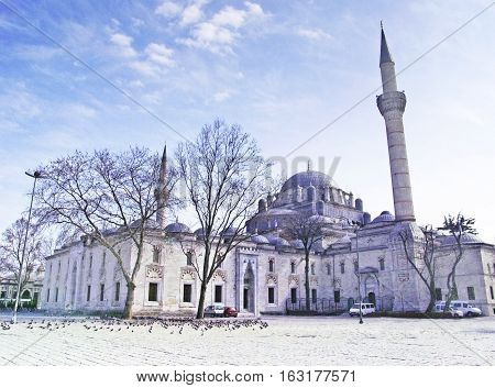 View of Bayezid Square and Bayezid II Mosque in istanbul, Turkey