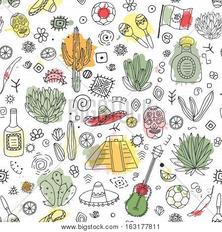 Doodles seamless pattern of Mexico - Temple of Kukulkan tequila sombrero agave maracas and other culture elements with imitation of watercolor. Vector illustration.