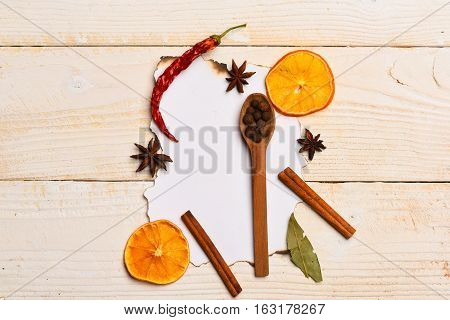 Composition Of Spices In Spoon