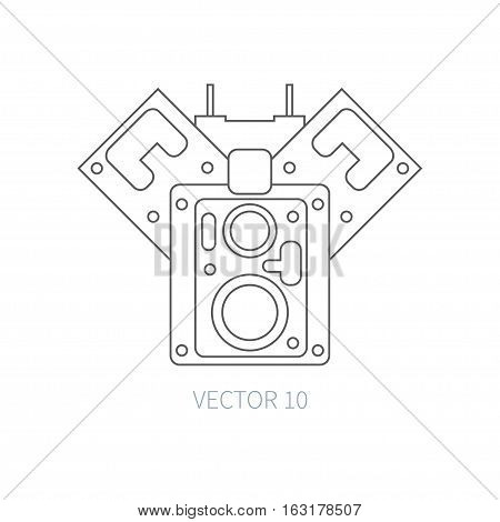Line flat vector icon car repair part block of cylinders. Internal combustion engine elements. Industrial. Cartoon style. Illustration, element for your design. Monochrome. Auto service. Maintenance.