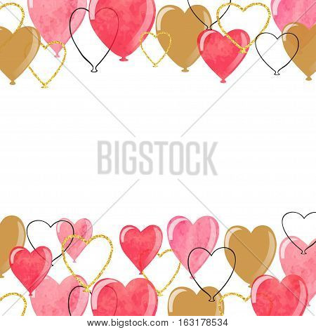 Valentines  hearts balloons borders. Vector romantic illustration.