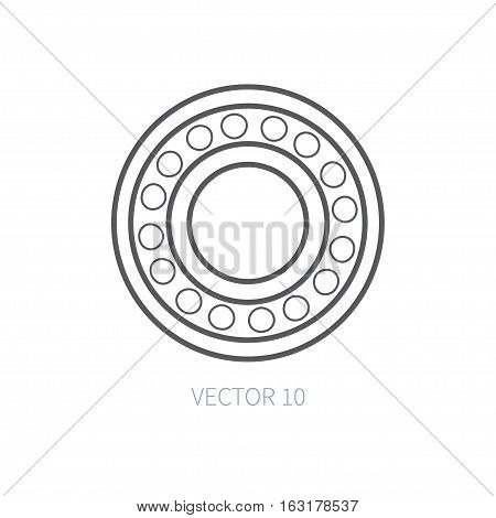 Line flat vector icon car repair part - bearing. Internal combustion engine elements. Industrial. Cartoon style. Illustration, element for your design. Monochrome. Auto service. Maintenance.