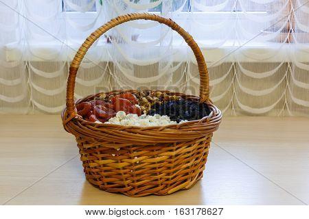 Dried fruit in straw basket yummy straw
