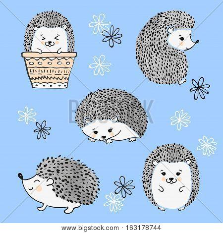 Set of cute cartoon hedgehogs. Vector illustration.