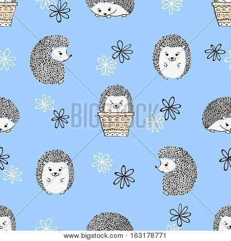 Seamless pattern with cute hedgehogs. Vector kids background.