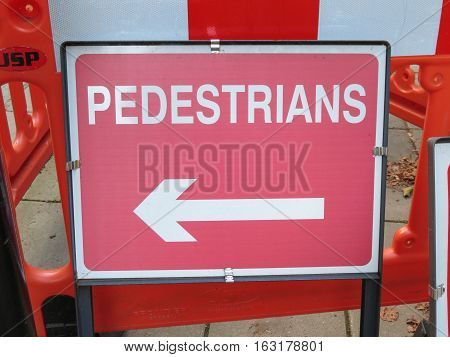 Pedestrian Red Direction Sign In London