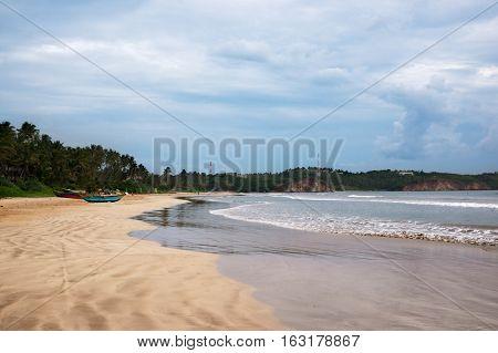 Butiful empty beach in Weligama bay Sri Lanka