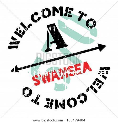 Swansea stamp. Grunge design with dust scratches. Effects can be easily removed for a clean, crisp look. Color is easily changed.