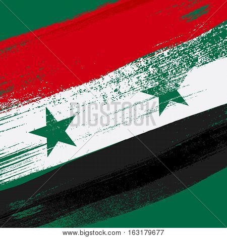 Syria colorful brush strokes painted national country Syrian flag on green background. Painted texture.