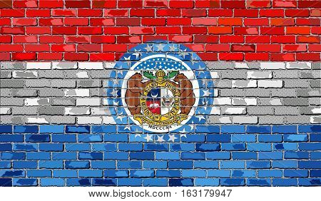 Flag of Missouri on a brick wall with effect - Illustration,  The flag of the state of Missouri on brick background,  Missouri flag in brick style