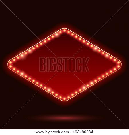 Light bulbs vintage neon glow square rhombus frame vector illustration. Good for cinema show theatre circus casino design.