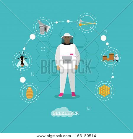Beekeeper man in uniform in center of apiculture concept design elements - wooden beehives, apiarist, smoker, bee, honey jar. Vector infographic items, icons in flat style