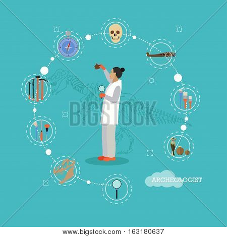 Vector illustration of researcher woman and archaeological articles around her. Archaeology concept infographic items, icon in flat style.