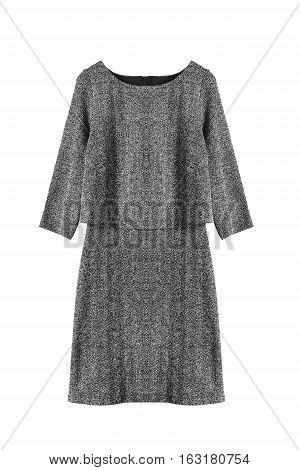 Elegant gray tweed dress on white background