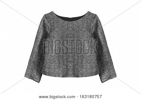 Elegant gray tweed top isolated over white