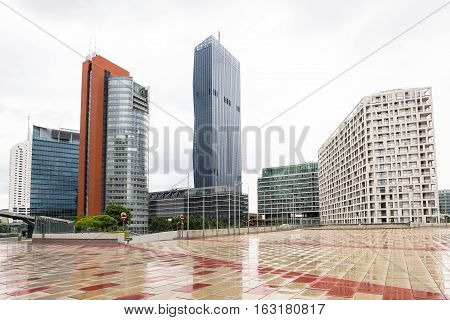 View on financial district with tall buildings and business centres in vienna, austria
