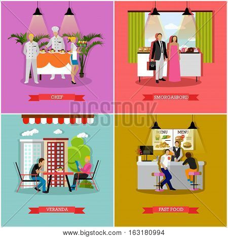 Vector set of banners with restaurant and cafe interiors in flat style. Smorgasbord, fast food, restaurant and veranda design elements.