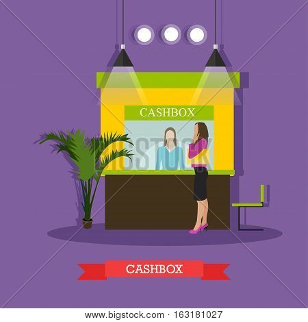 Vector illustration of bank cashbox, cashier and customer woman standing near cashbox window. Banking and finance concept design element in flat style