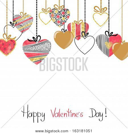 Happy Valentines day card with patterned hearts. Romantic border design. Vector illustration.
