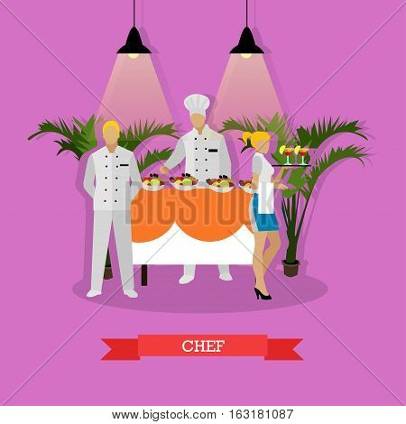 Vector illustration of restaurant kitchen interior in flat style. Chef, headwaiter and waitress holding tray with cocktails.