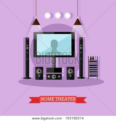 Vector illustration of home theater. Audio visual system for living room. Home interior design element in flat style