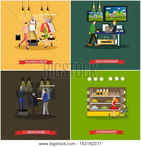 Vector set of shop and supermarket design elements in flat style. People shopping at fashion clothing store, supermarket, equipment and electronics shop.