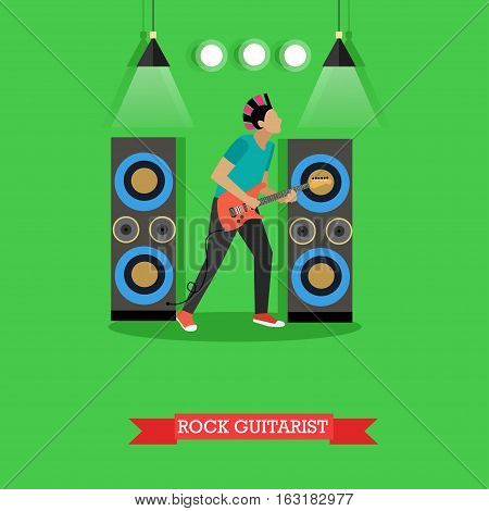 Boy Rock Guitarist, vector illustration in flat style. Rocker playing electric guitar on stage, string musical instrument.