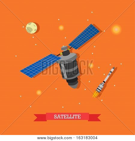 Vector illustration of artificial satellite, launched rocket and planet Earth. Space and telecommunications concept design element in flat style.