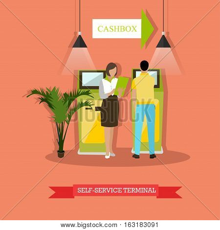 Vector illustration of people standing near self-service terminal. Man is carrying out operations with terminal, woman is holding dokuments. Banking and finance concept design element in flat style