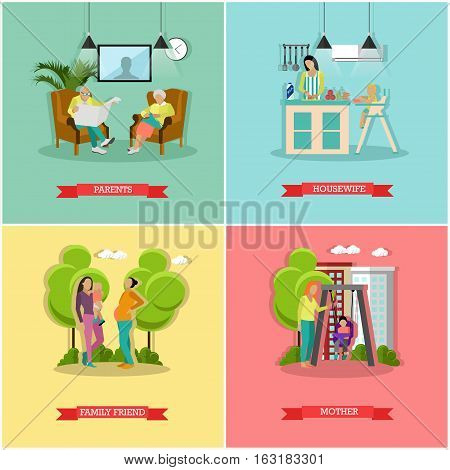 Vector set of family and housewife concept banners, posters. Parents, mother, child, family friend, housewife design elements in flat style.