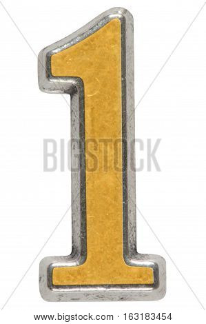 Metal numeral 1 one isolated on white background