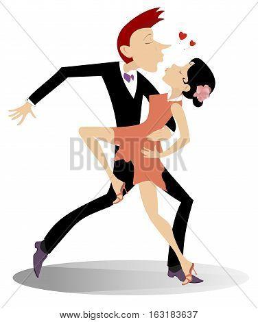 Love dance. Romantic dancing man and woman