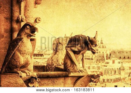 Vintage Style Picture Of A Gargoyle In Paris