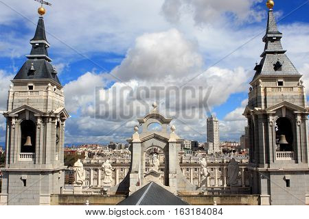 View from Almudena Cathedral, Santa María la Real de La Almudena, Catholic cathedral in Madrid, Spain