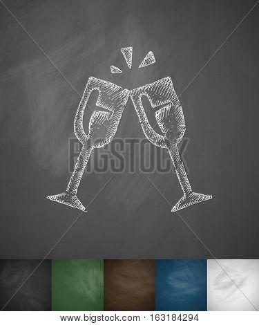 stemware icon. Hand drawn vector illustration. Chalkboard Design