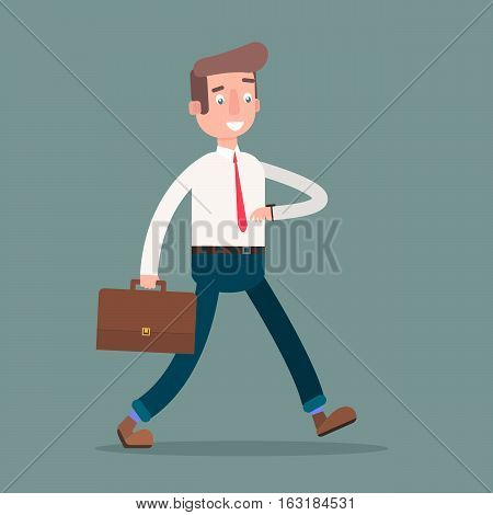 Flat a man in a hurry to work. Vector illustration.